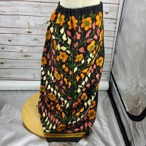 Boho Vintage Embroidered Maxi Skirt metal zipper